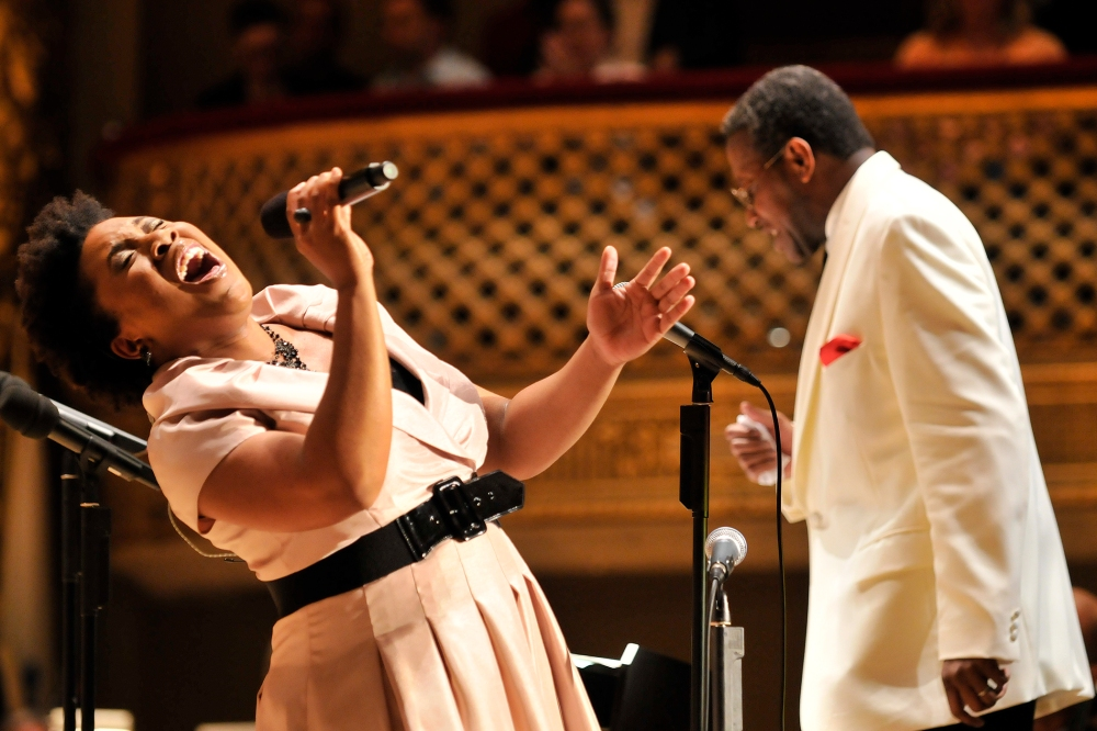 Charles Floyd and Melinda Doolittle perform on a Gospel Night Program in 2010 (Stu Rosner)