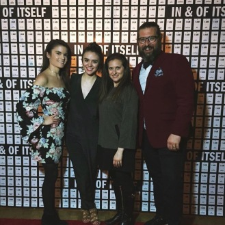 'In and Of Itself' Opening Night Jessica Ferreira, Jenny Dorso, Amanda Pekoe, and Christopher Lueck Photo courtesy of Amanda Pekoe/The Pekoe Group