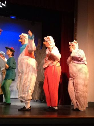 Nicole DiRuzza as Pig #1, Abby Randall as Pig #2, and Denise Feeney as Pig #3