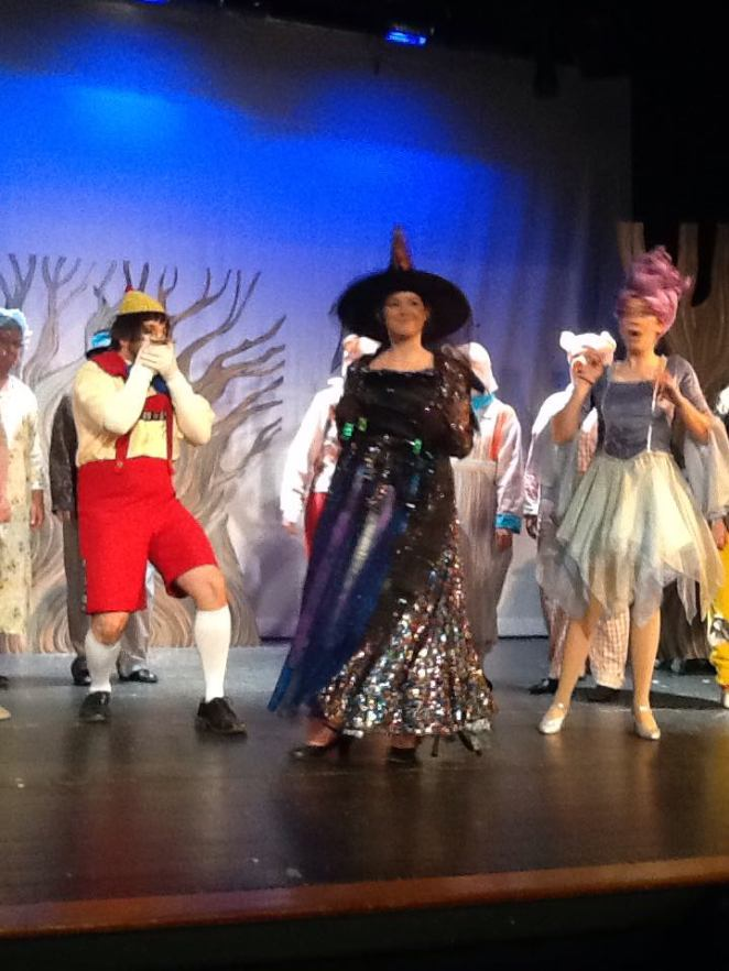 Aaron Stolicker as Pinocchio, Catherine Bennis as Witch, and Hannah Ford as Sugar Plum Fairy