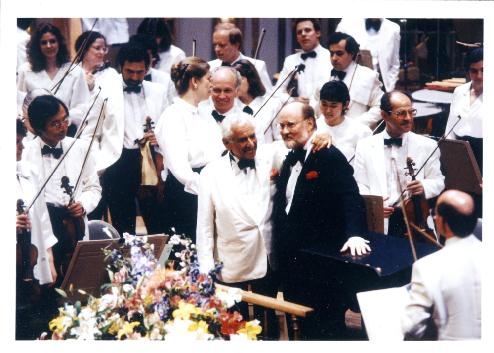 Boston Pops John Williams and Leonard Bernstein at Harvard Night at the Pops, June 6, 1989 (Donald Dietz)