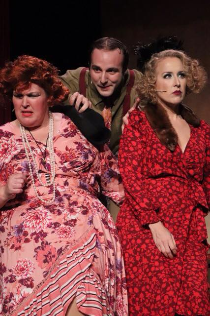 Debby Rawson Stratton as Miss Hannigan, Aaron Stolicker as Rooster, and Whitney Lloyd as Lily St. Regis Photo Courtesy of Hingham Civic Music Theatre