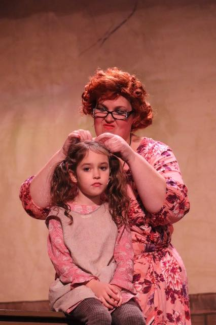 Debby Rawson Stratton as Miss Hannigan and Winslow Levin as Molly Photo courtesy of Hingham Civic Music Theatre