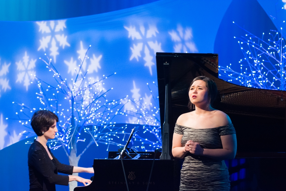 soprano Saori Erickson and pianist Bethany Pietroniro performing Ave Maria (Sam Brewer - WGBH)