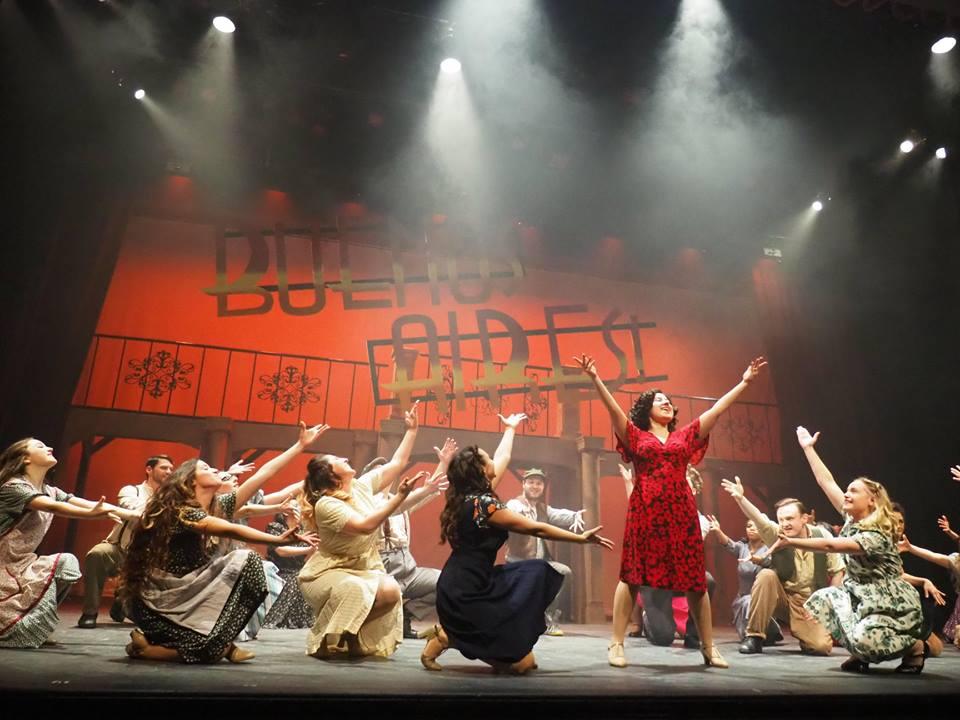 Company Theatre Evita Kristen Huberdeau as Evita with cast