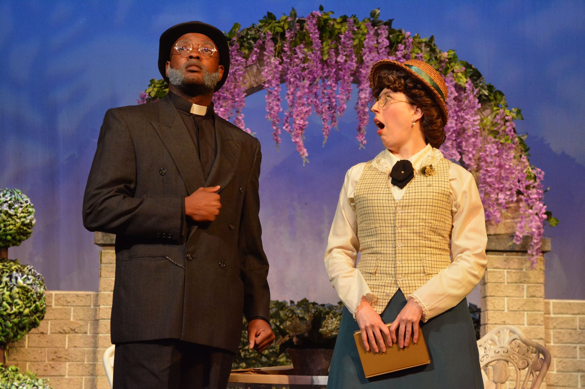 Footlight Club The Importance of Being Earnest Jennifer Beam as Miss Prism and Tim Joseph as Reverend Chasuble