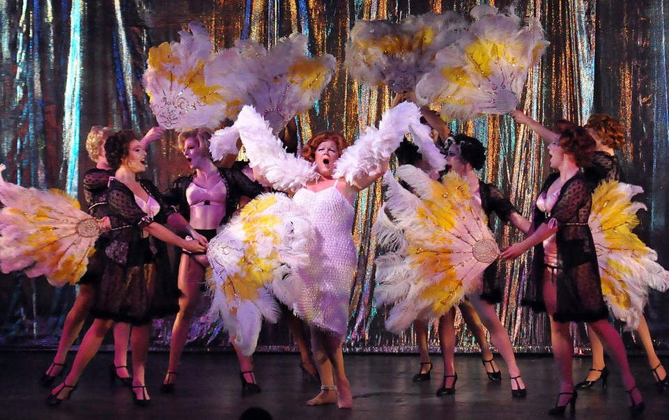 Reagle Music Theatre of Greater Boston La Cage aux Folles James Darrah as Albin with the Cagelles