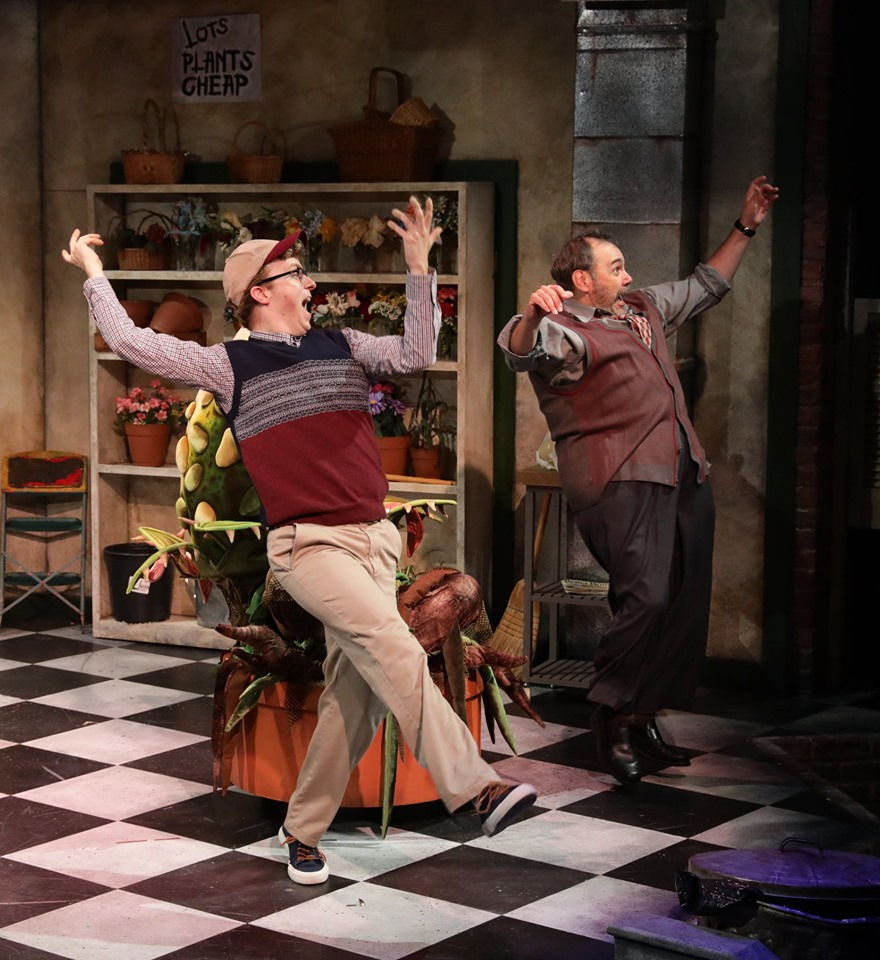 Lyric Stage 'Little Shop of Horrors' Dan Prior as Seymour and Remo Airaldi as Mr Mushnik