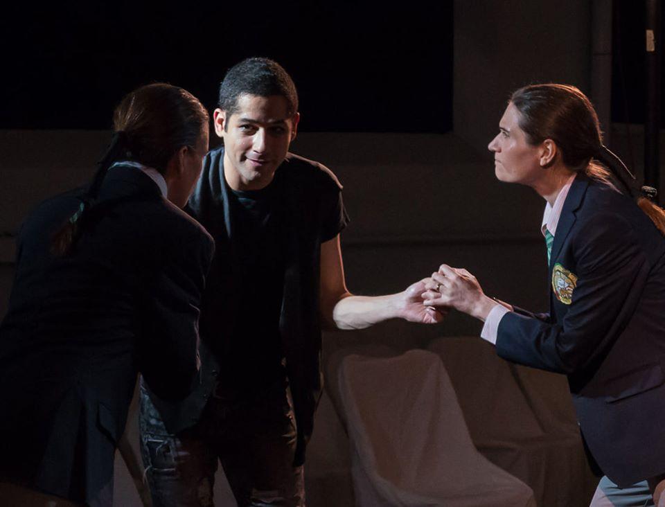 Theatre@First Hamlet Hatem Adell Rosencrantz Chantelle Marshall and Guildenstern Julia Kennedy Johanna Bobrow
