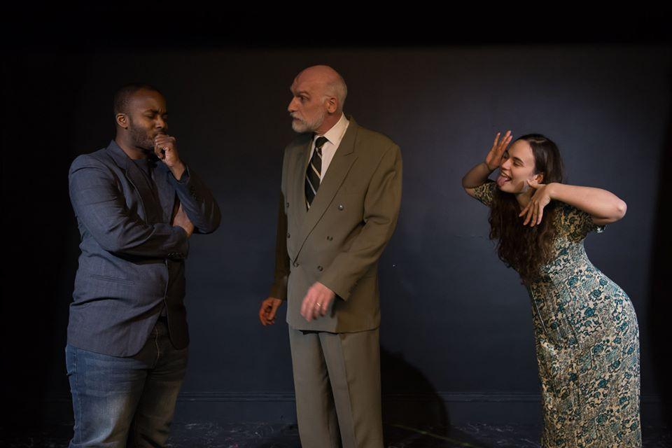 Theatre@First Hamlet Laertes Nathan Phillip Andrew Harrington as Polonius and Evelyne Cardella Ophelia Johanna Bobrow