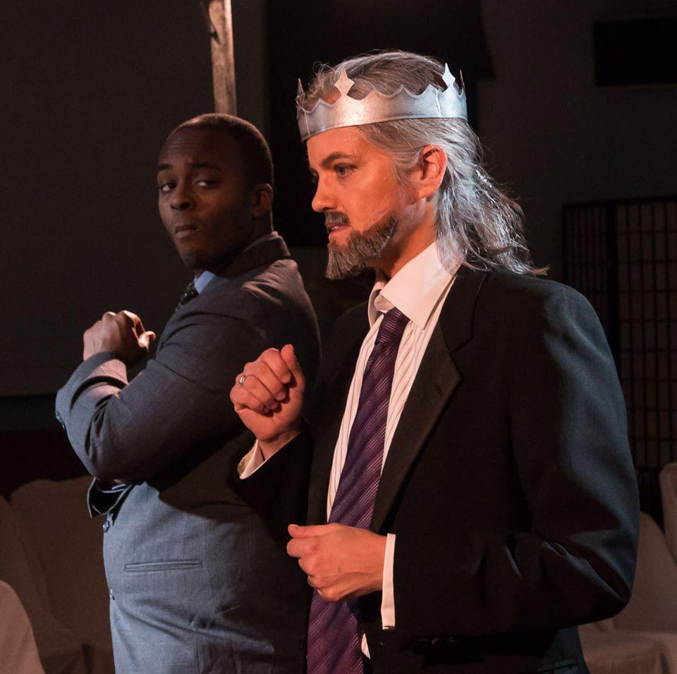 Theatre@First Hamlet Nathan Philip Johnson as Laertes and Myra Hope Eskridge as Claudius Johanna Bobrow
